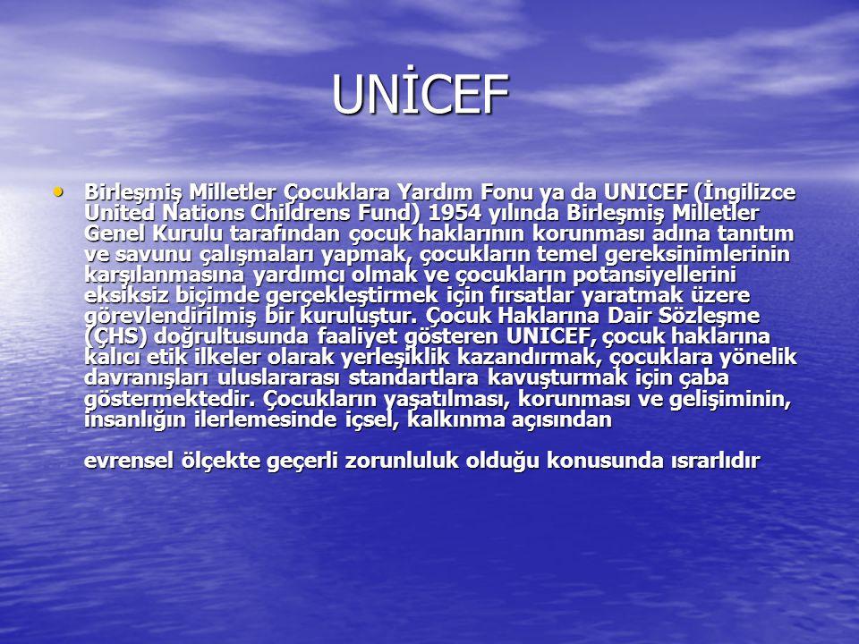 UNİCEF UNİCEF Birleşmiş Milletler Çocuklara Yardım Fonu ya da UNICEF (İngilizce United Nations Childrens Fund) 1954 yılında Birleşmiş Milletler Genel Kurulu tarafından çocuk haklarının korunması adına tanıtım ve savunu çalışmaları yapmak, çocukların temel gereksinimlerinin karşılanmasına yardımcı olmak ve çocukların potansiyellerini eksiksiz biçimde gerçekleştirmek için fırsatlar yaratmak üzere görevlendirilmiş bir kuruluştur.