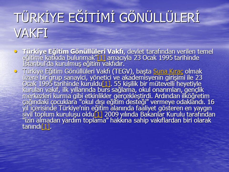 TÜRKİYE EĞİTİMİ GÖNÜLLÜLERİ VAKFI Türkiye Eğitim Gönüllüleri Vakfı, devlet tarafından verilen temel eğitime katkıda bulunmak [1] amacıyla 23 Ocak 1995 tarihinde İstanbul'da kurulmuş eğitim vakfıdır.