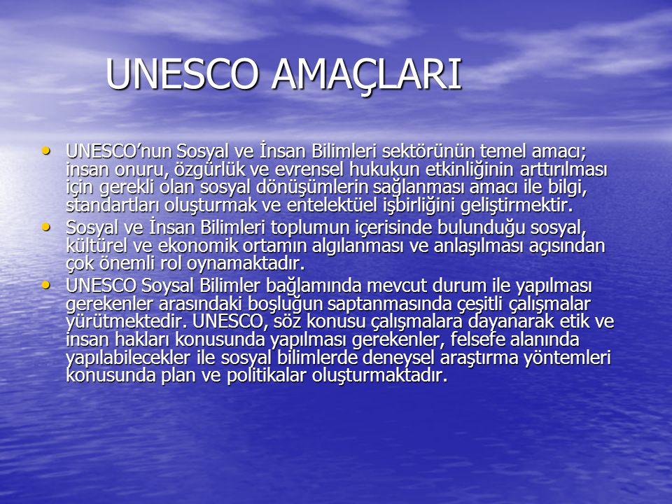 UNESCO AMAÇLARI UNESCO AMAÇLARI UNESCO'nun Sosyal ve İnsan Bilimleri sektörünün temel amacı; insan onuru, özgürlük ve evrensel hukukun etkinliğinin arttırılması için gerekli olan sosyal dönüşümlerin sağlanması amacı ile bilgi, standartları oluşturmak ve entelektüel işbirliğini geliştirmektir.