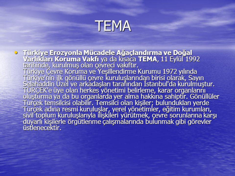 TEMA TEMA Türkiye Erozyonla Mücadele Ağaçlandırma ve Doğal Varlıkları Koruma Vakfı ya da kısaca TEMA, 11 Eylül 1992 tarihinde, kurulmuş olan çevreci vakıftır.