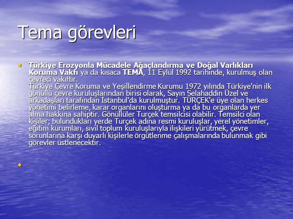 Tema görevleri Türkiye Erozyonla Mücadele Ağaçlandırma ve Doğal Varlıkları Koruma Vakfı ya da kısaca TEMA, 11 Eylül 1992 tarihinde, kurulmuş olan çevreci vakıftır.