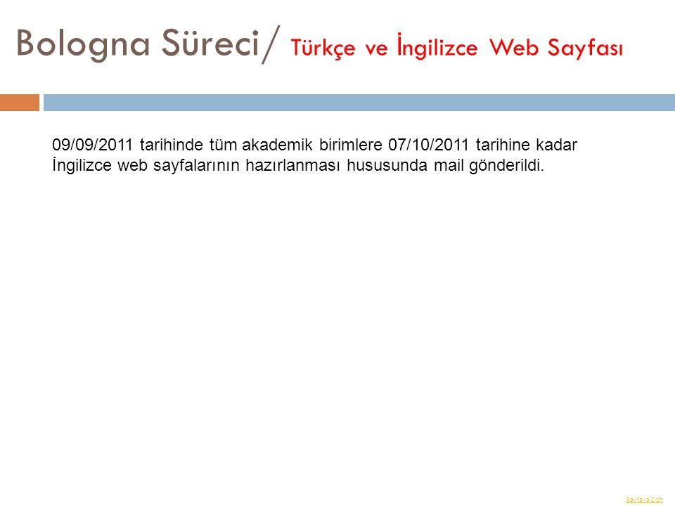 Bologna Süreci/ Türkçe ve İ ngilizce Web Sayfası Sayfaya Dön 09/09/2011 tarihinde tüm akademik birimlere 07/10/2011 tarihine kadar İngilizce web sayfa