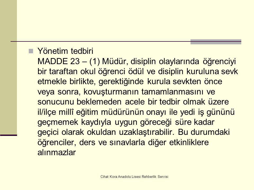 Cihat Kora Anadolu Lisesi Rehberlik Servisi Zararın ödetilmesi MADDE 22 – (1) Takdir edilen disiplin cezasının yanında okul ve kişi mallarına verilen