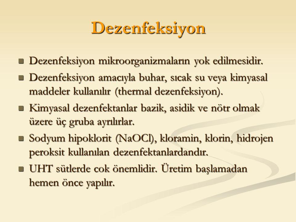Dezenfeksiyon Dezenfeksiyon mikroorganizmaların yok edilmesidir. Dezenfeksiyon mikroorganizmaların yok edilmesidir. Dezenfeksiyon amacıyla buhar, sıca