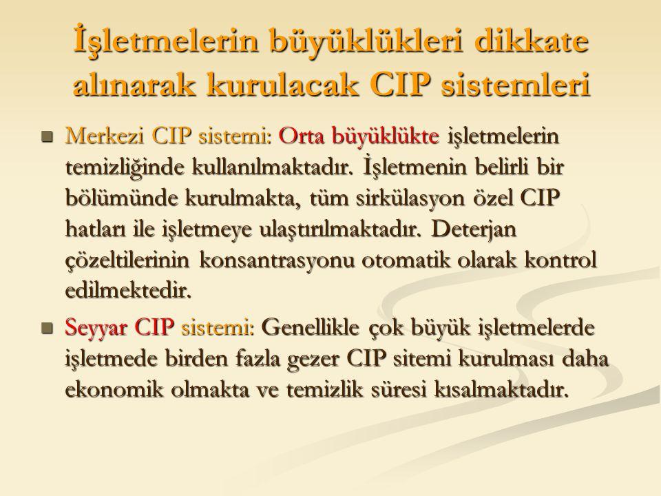 İşletmelerin büyüklükleri dikkate alınarak kurulacak CIP sistemleri Merkezi CIP sistemi: Orta büyüklükte işletmelerin temizliğinde kullanılmaktadır. İ