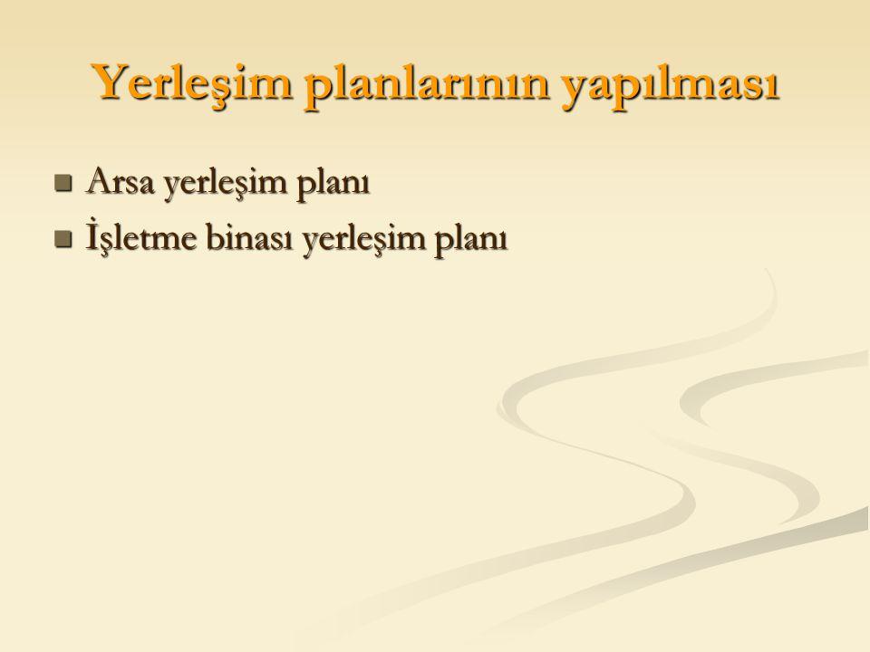 Yerleşim planlarının yapılması Arsa yerleşim planı Arsa yerleşim planı İşletme binası yerleşim planı İşletme binası yerleşim planı