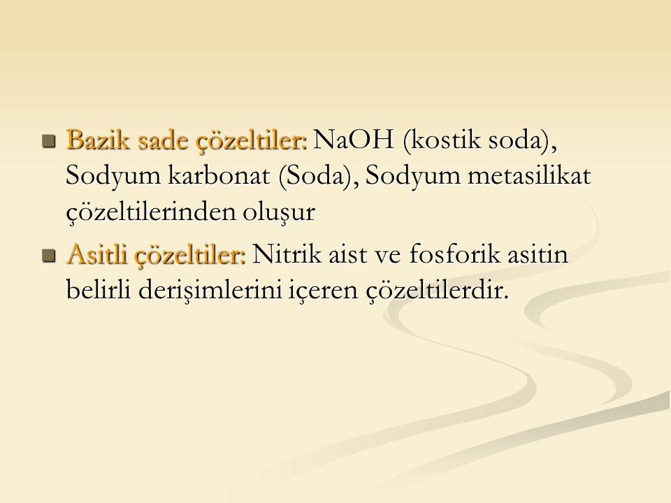 Bazik sade çözeltiler: NaOH (kostik soda), Sodyum karbonat (Soda), Sodyum metasilikat çözeltilerinden oluşur Bazik sade çözeltiler: NaOH (kostik soda)