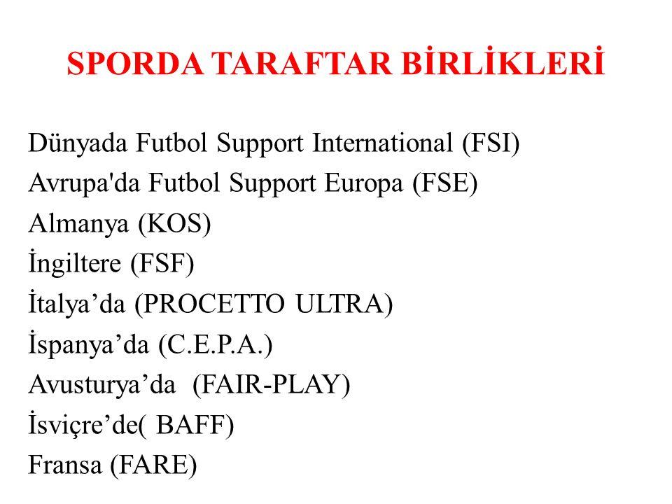 SPORDA TARAFTAR BİRLİKLERİ Dünyada Futbol Support International (FSI) Avrupa'da Futbol Support Europa (FSE) Almanya (KOS) İngiltere (FSF) İtalya'da (P