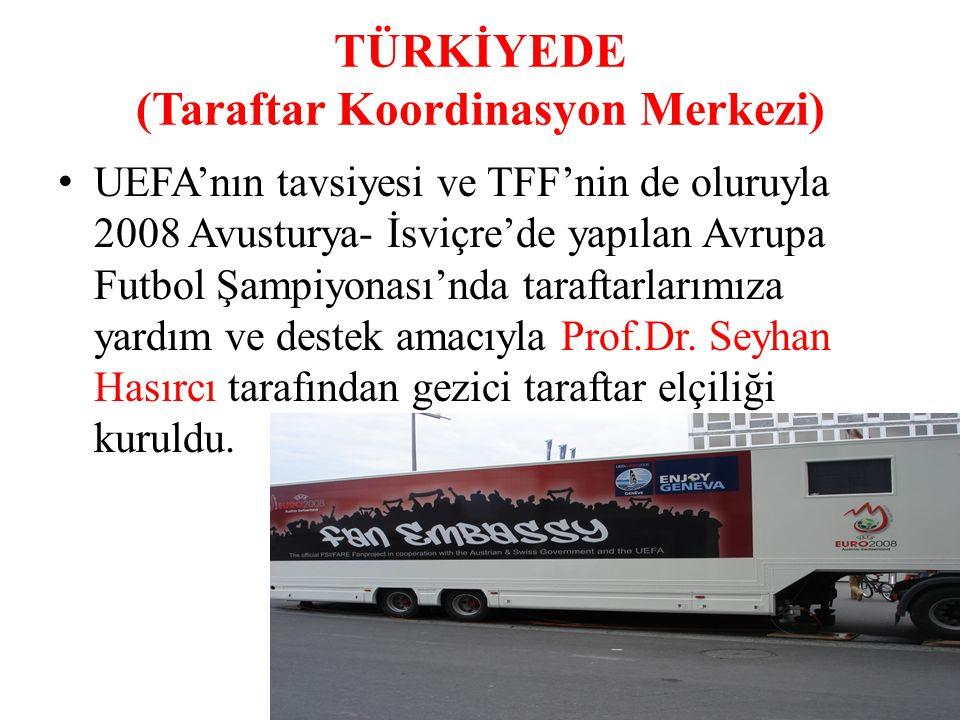 TÜRKİYEDE (Taraftar Koordinasyon Merkezi) UEFA'nın tavsiyesi ve TFF'nin de oluruyla 2008 Avusturya- İsviçre'de yapılan Avrupa Futbol Şampiyonası'nda t