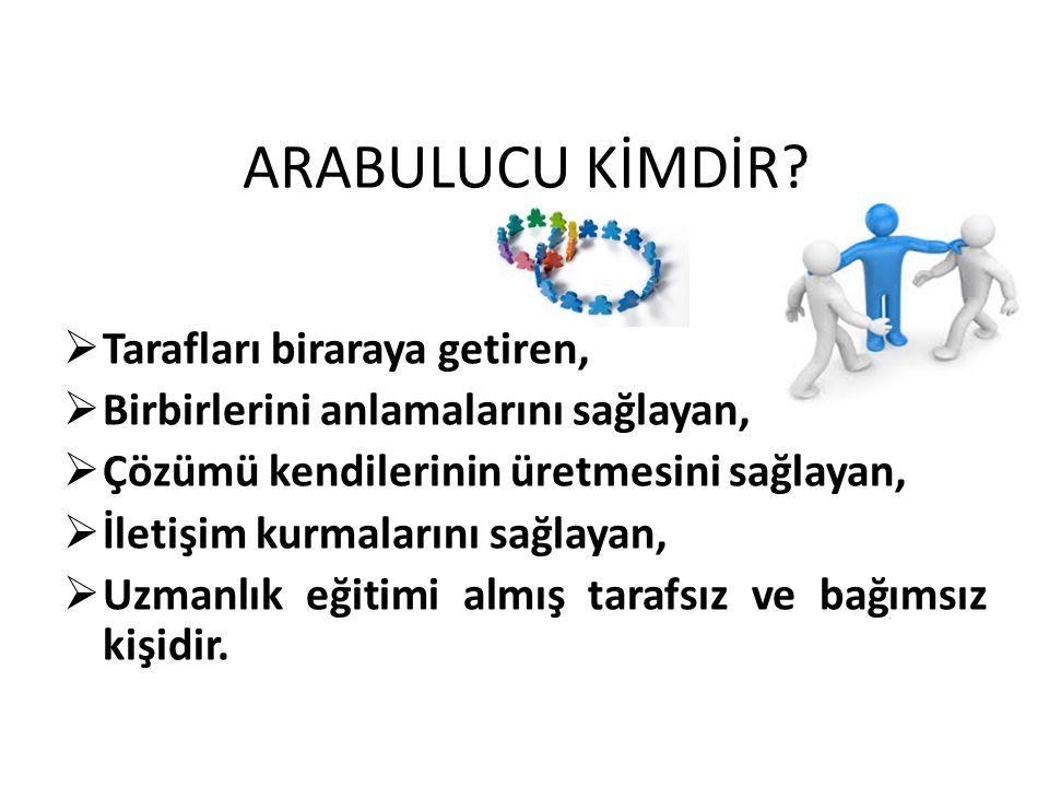 ARABULUCU OLABİLME ŞARTLARI 1.Türk vatandaşı olmak, 2.Meslekte en az 5 yıllık kıdeme sahip, hukuk fak.