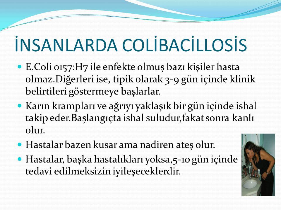 İNSANLARDA COLİBACİLLOSİS E.Coli o157:H7 ile enfekte olmuş bazı kişiler hasta olmaz.Diğerleri ise, tipik olarak 3-9 gün içinde klinik belirtileri göstermeye başlarlar.