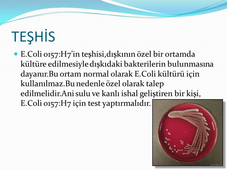 TEŞHİS E.Coli o157:H7'in teşhisi,dışkının özel bir ortamda kültüre edilmesiyle dışkıdaki bakterilerin bulunmasına dayanır.Bu ortam normal olarak E.Coli kültürü için kullanılmaz.Bu nedenle özel olarak talep edilmelidir.Ani sulu ve kanlı ishal geliştiren bir kişi, E.Coli o157:H7 için test yaptırmalıdır.