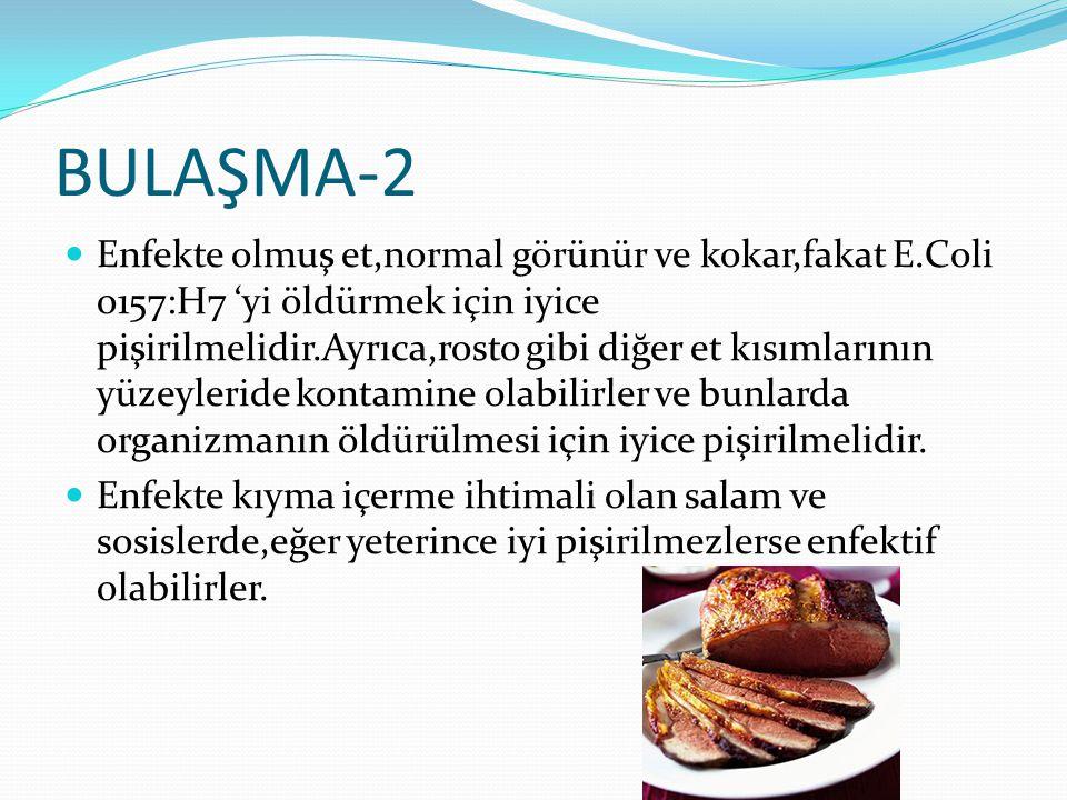 BULAŞMA-2 Enfekte olmuş et,normal görünür ve kokar,fakat E.Coli o157:H7 'yi öldürmek için iyice pişirilmelidir.Ayrıca,rosto gibi diğer et kısımlarının