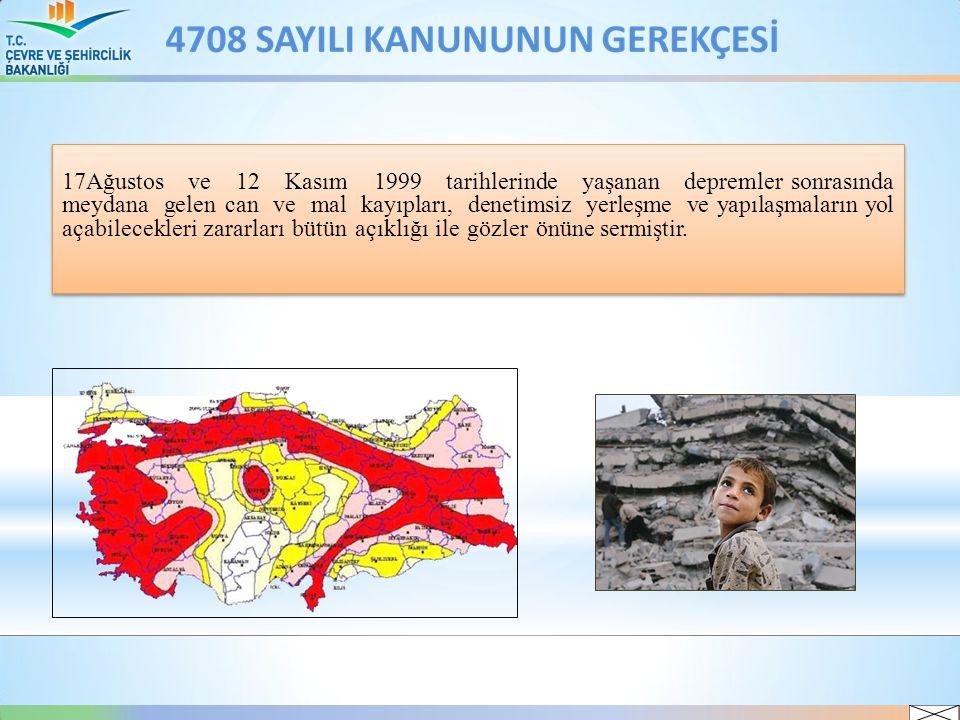 17Ağustos ve 12 Kasım 1999 tarihlerinde yaşanan depremler sonrasında meydana gelen can ve mal kayıpları, denetimsiz yerleşme ve yapılaşmaların yol aça