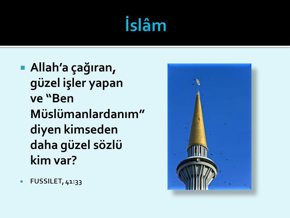 """ Allah'a çağıran, güzel işler yapan ve """"Ben Müslümanlardanım"""" diyen kimseden daha güzel sözlü kim var?  FUSSILET, 41:33"""
