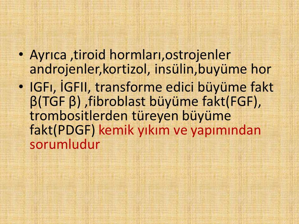 Ayrıca,tiroid hormları,ostrojenler androjenler,kortizol, insülin,buyüme hor IGFı, İGFII, transforme edici büyüme fakt β(TGF β),fibroblast büyüme fakt(