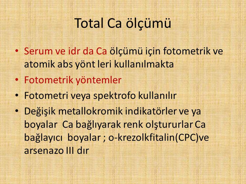Total Ca ölçümü Serum ve idr da Ca ölçümü için fotometrik ve atomik abs yönt leri kullanılmakta Fotometrik yöntemler Fotometri veya spektrofo kullanıl