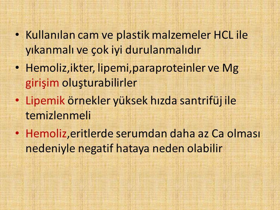Kullanılan cam ve plastik malzemeler HCL ile yıkanmalı ve çok iyi durulanmalıdır Hemoliz,ikter, lipemi,paraproteinler ve Mg girişim oluşturabilirler L