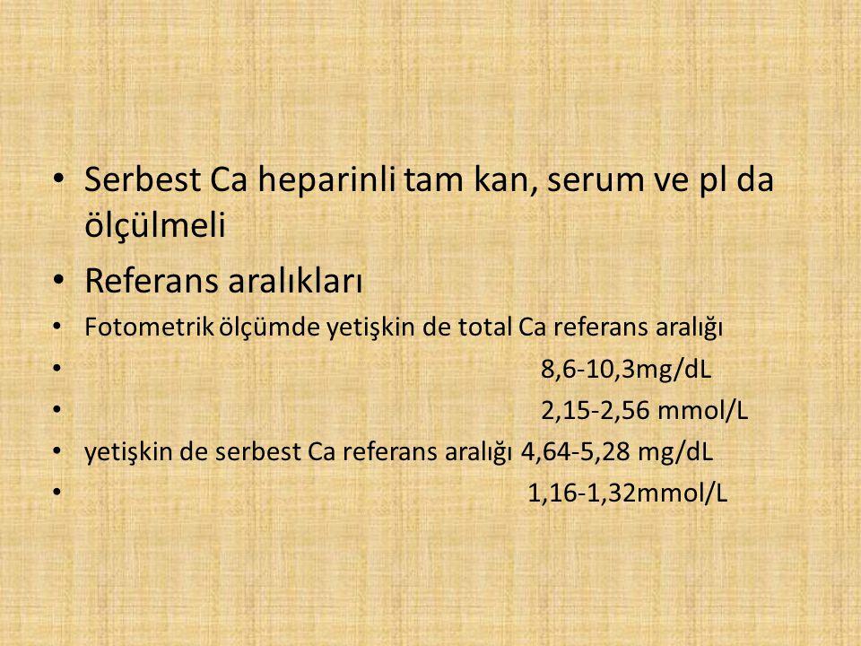 Serbest Ca heparinli tam kan, serum ve pl da ölçülmeli Referans aralıkları Fotometrik ölçümde yetişkin de total Ca referans aralığı 8,6-10,3mg/dL 2,15