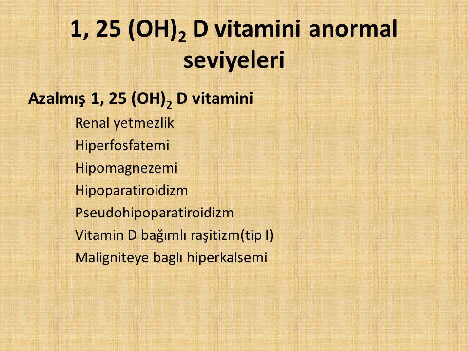 1, 25 (OH) 2 D vitamini anormal seviyeleri Azalmış 1, 25 (OH) 2 D vitamini Renal yetmezlik Hiperfosfatemi Hipomagnezemi Hipoparatiroidizm Pseudohipopa