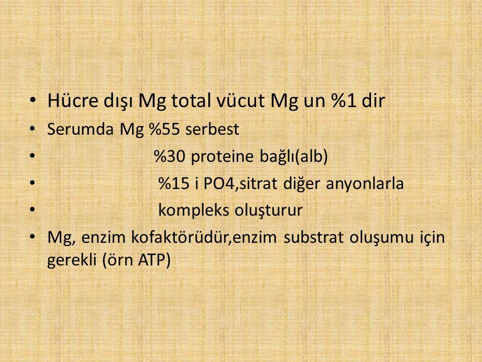 Hücre dışı Mg total vücut Mg un %1 dir Serumda Mg %55 serbest %30 proteine bağlı(alb) %15 i PO4,sitrat diğer anyonlarla kompleks oluşturur Mg, enzim k