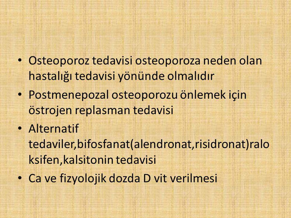 Osteoporoz tedavisi osteoporoza neden olan hastalığı tedavisi yönünde olmalıdır Postmenepozal osteoporozu önlemek için östrojen replasman tedavisi Alt