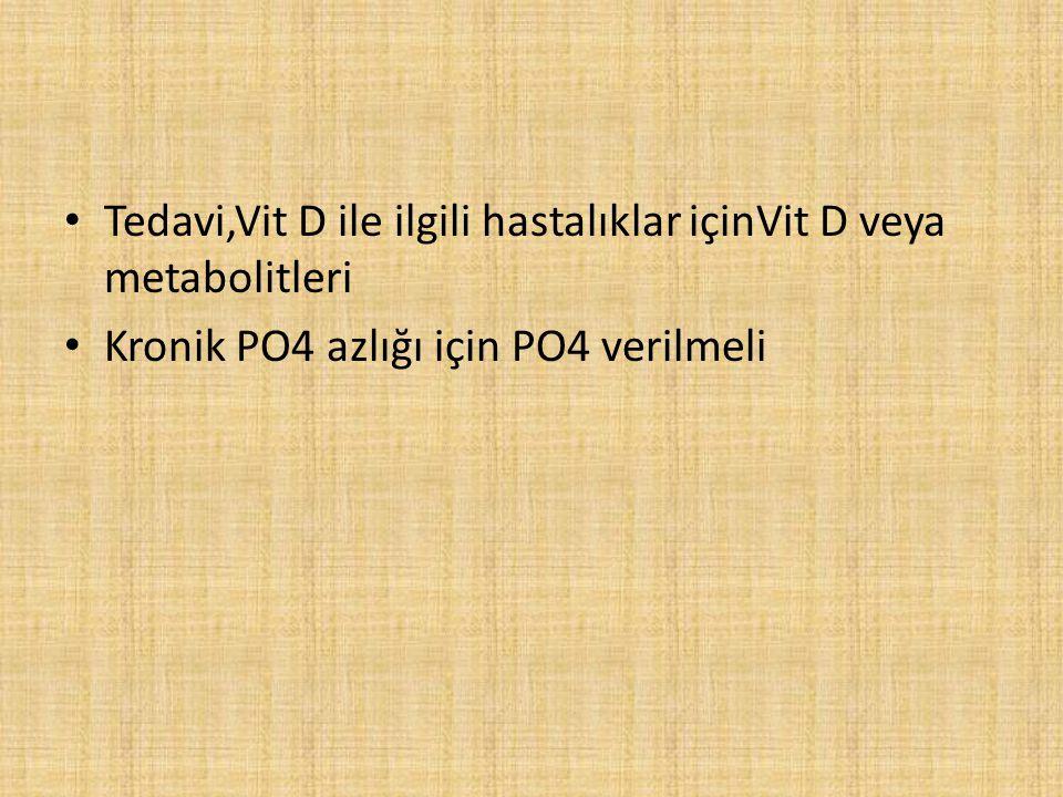 Tedavi,Vit D ile ilgili hastalıklar içinVit D veya metabolitleri Kronik PO4 azlığı için PO4 verilmeli