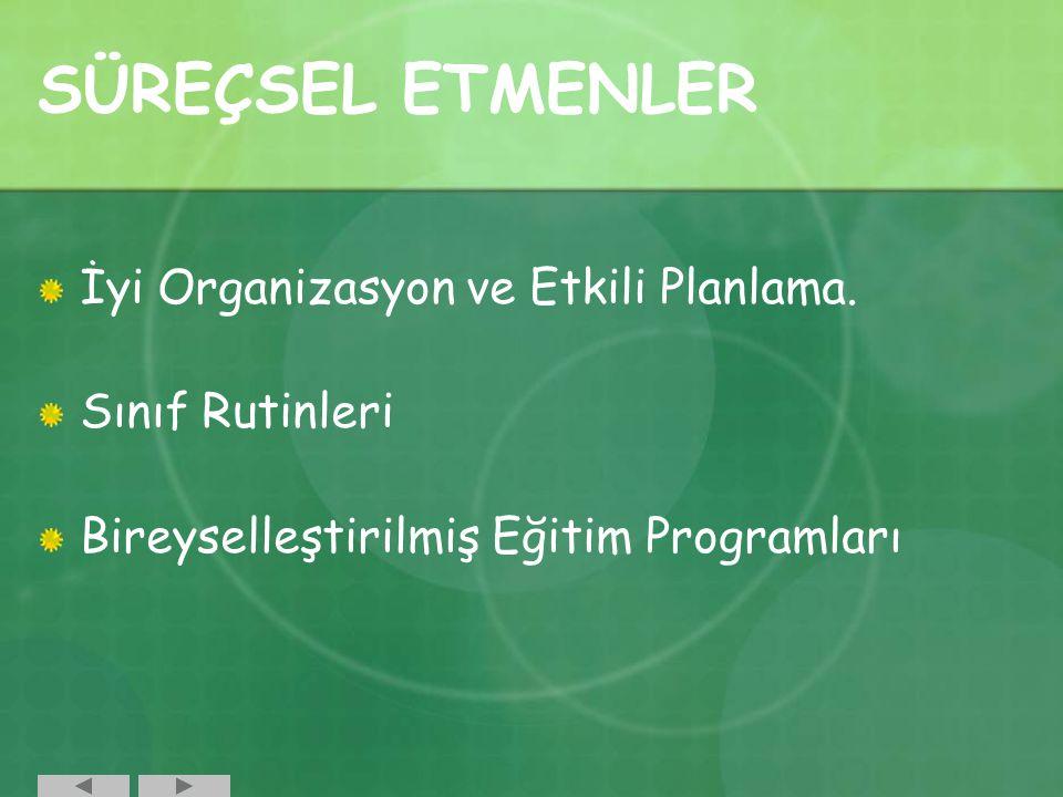 İyi Organizasyon ve Etkili Planlama. Sınıf Rutinleri Bireyselleştirilmiş Eğitim Programları