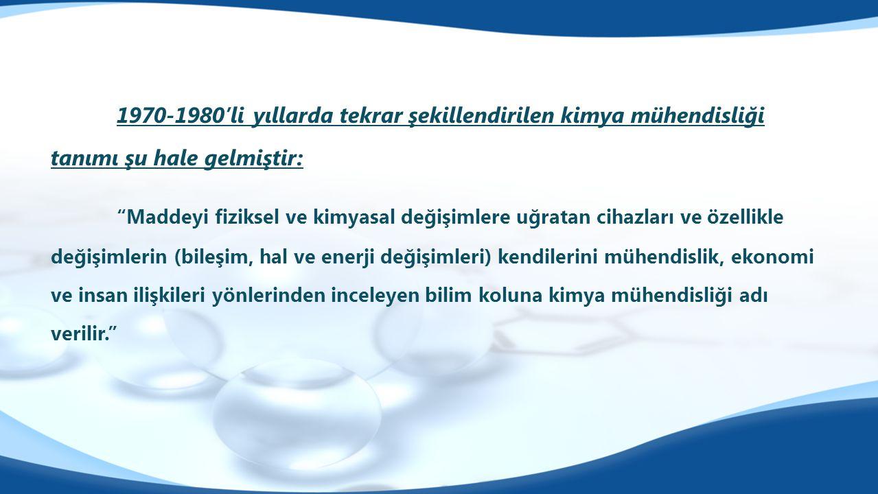 Kimyasal Teknolojiler A.B.D.Başkanı Prof. Dr. Erol PEHLİVAN Proses ve Reaktör Tasarımı A.B.D.