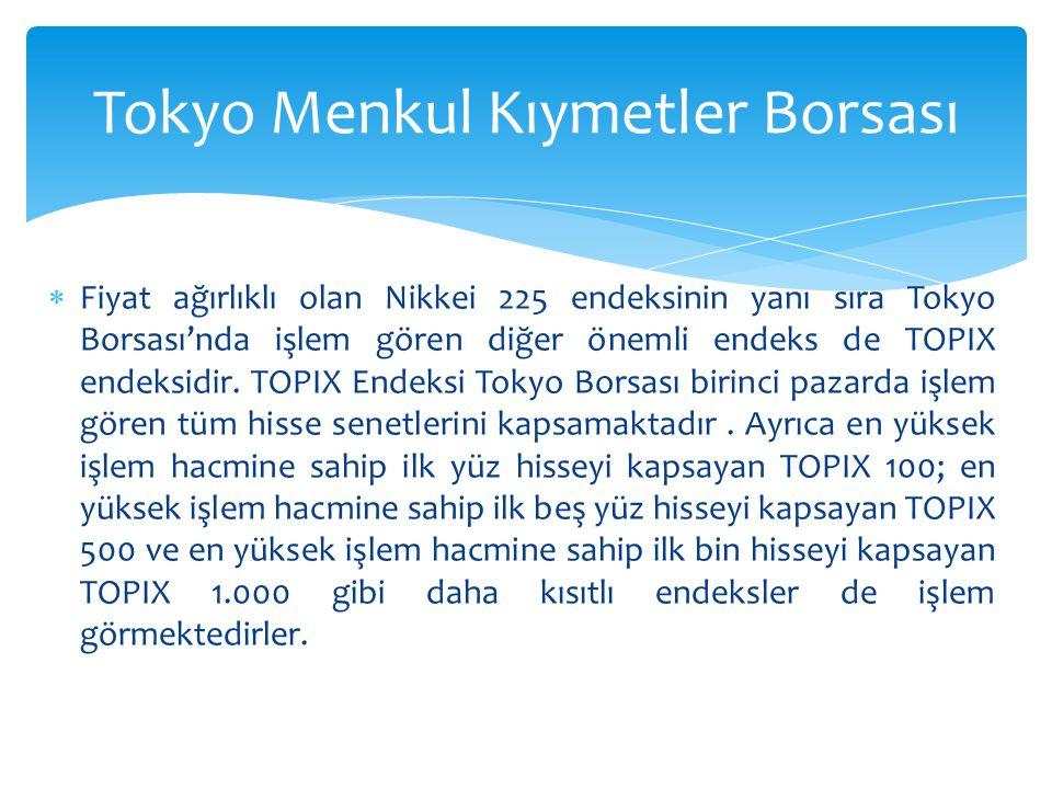  Fiyat ağırlıklı olan Nikkei 225 endeksinin yanı sıra Tokyo Borsası'nda işlem gören diğer önemli endeks de TOPIX endeksidir. TOPIX Endeksi Tokyo Bors