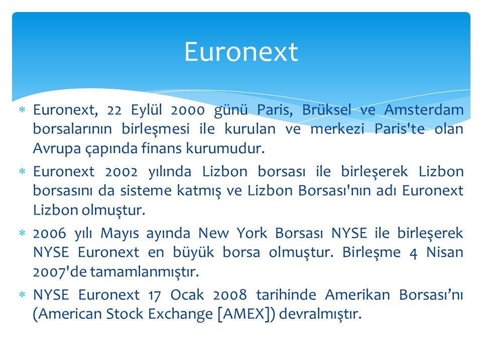  Euronext, 22 Eylül 2000 günü Paris, Brüksel ve Amsterdam borsalarının birleşmesi ile kurulan ve merkezi Paris te olan Avrupa çapında finans kurumudur.