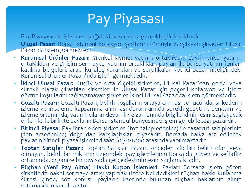  Pay Piyasasında işlemler aşağıdaki pazarlarda gerçekleştirilmektedir:  Ulusal Pazar: Borsa İstanbul kotasyon şartlarını tümüyle karşılayan şirketler Ulusal Pazar'da işlem görmektedir.