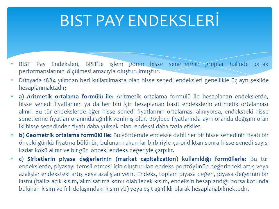  BIST Pay Endeksleri, BIST'te işlem gören hisse senetlerinin gruplar halinde ortak performanslarının ölçülmesi amacıyla oluşturulmuştur.  Dünyada 18