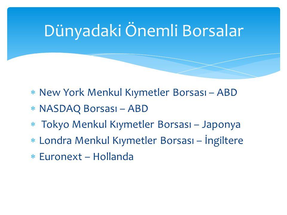  New York Menkul Kıymetler Borsası – ABD  NASDAQ Borsası – ABD  Tokyo Menkul Kıymetler Borsası – Japonya  Londra Menkul Kıymetler Borsası – İngiltere  Euronext – Hollanda Dünyadaki Önemli Borsalar