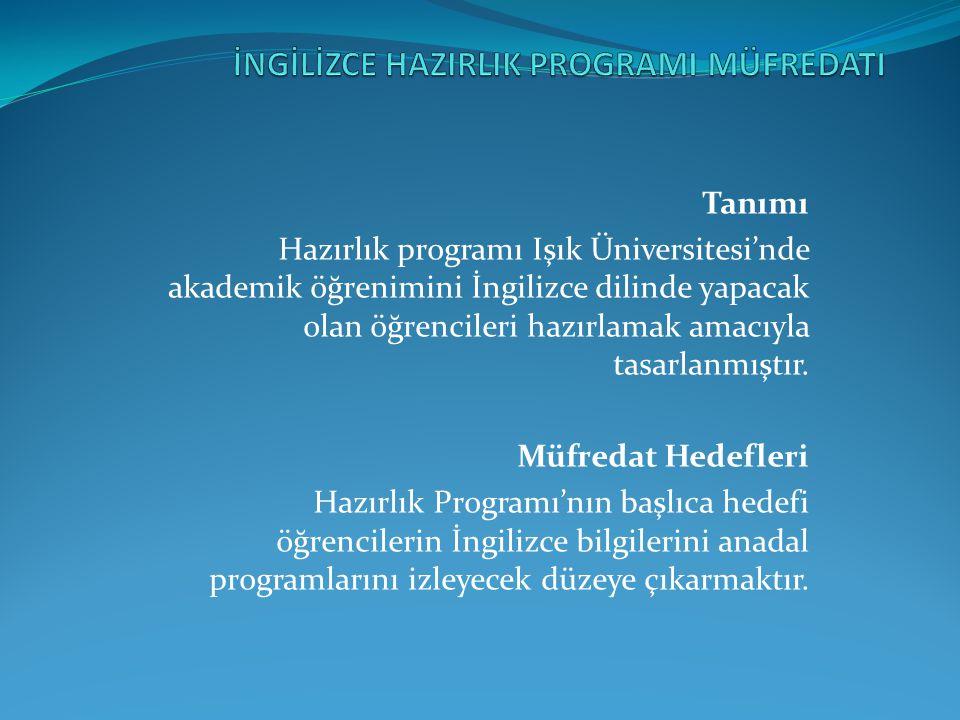 Tanımı Hazırlık programı Işık Üniversitesi'nde akademik öğrenimini İngilizce dilinde yapacak olan öğrencileri hazırlamak amacıyla tasarlanmıştır. Müfr