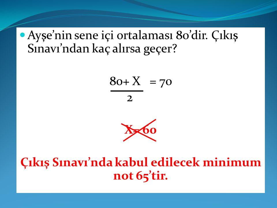 Ayşe'nin sene içi ortalaması 80'dir. Çıkış Sınavı'ndan kaç alırsa geçer? 80+ X = 70 2 X= 60 Çıkış Sınavı'nda kabul edilecek minimum not 65'tir.