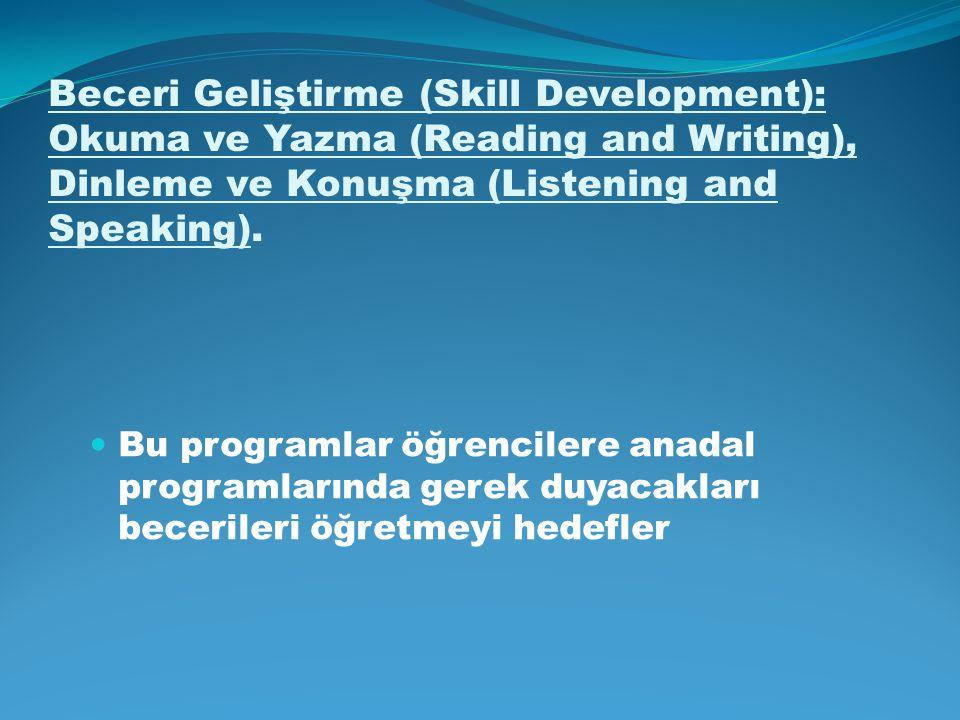 Beceri Geliştirme (Skill Development): Okuma ve Yazma (Reading and Writing), Dinleme ve Konuşma (Listening and Speaking). Bu programlar öğrencilere an