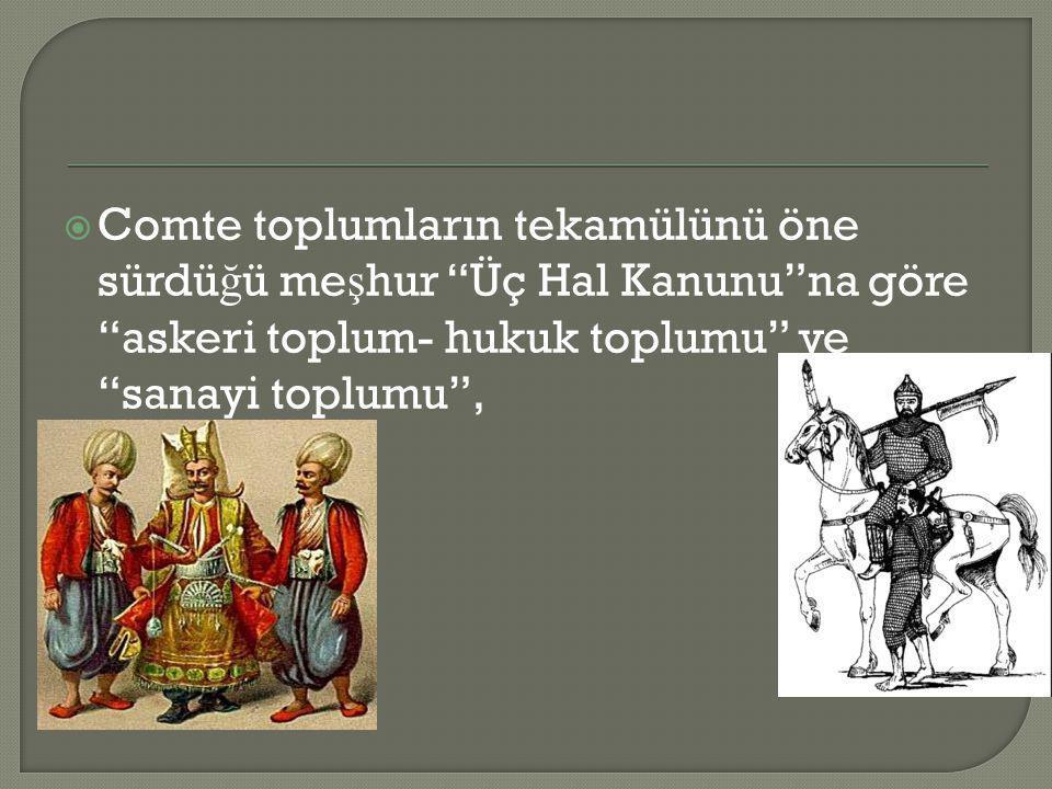  Auguste Comte ise toplumun geli ş imine göre her toplumun üç ayrı a ş amadan geçece ğ ini/geçti ğ ini söyler: – Teolojik A ş amadaki Toplum: Askeri ve monar ş ik bir yapı vardır.