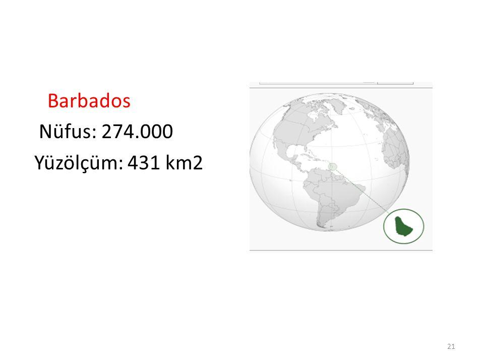 Barbados Nüfus: 274.000 Yüzölçüm: 431 km2 21