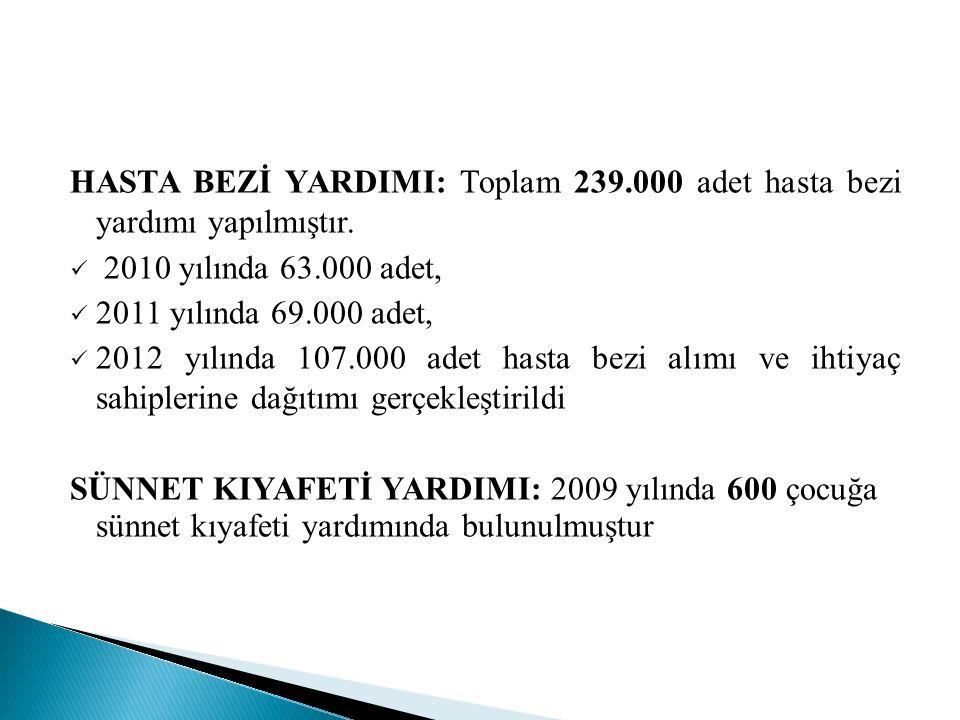 HASTA BEZİ YARDIMI: Toplam 239.000 adet hasta bezi yardımı yapılmıştır.