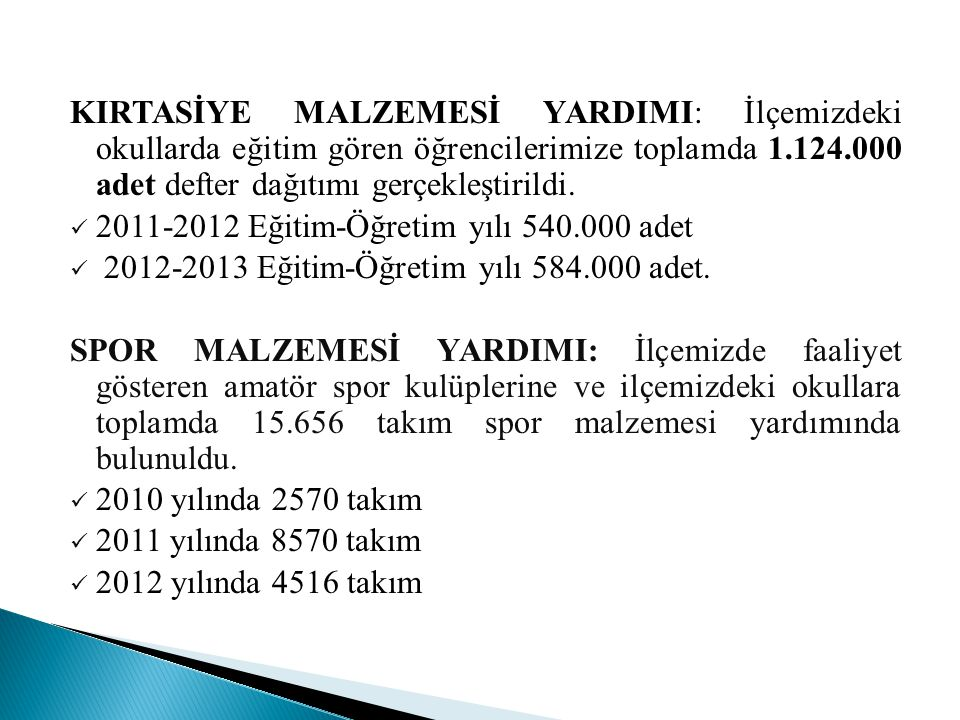 ZÜBEYDE HANIM MAHALLESİ  2009 yılında 3528 aileye 60870 sefer tası, 2010 yılında 5421 aileye 114756 sefertası, 2011 yılında 4566 aileye 96173 sefertası, 2012 yılında 4148 aileye 79644 sefertası olmak üzere toplam 17663 aileye 351443 sefer tası yemek dağıtılmıştır  2009 yılında 992 adet, 2010 yılında 1074 adet, 2011 yılında 1129 adet, 2012 yılında 1129 adet olmak üzere toplam 4304 adet gıda kolisi dağıtılmıştır  2009 yılında 30 adet, doğal afet yardımı (Çekyat, halı) yapıldı  2009 yılında 50 çocuğa sünnet kıyafeti yardımı yapıldı  2010 yılında 15 adet.