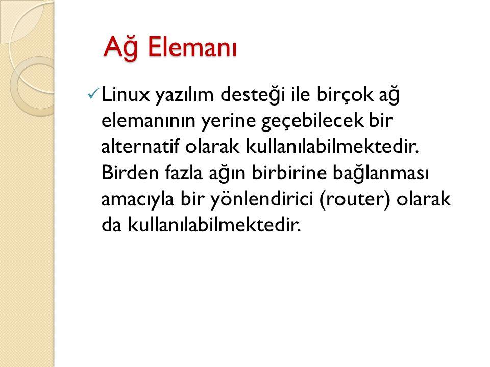 A ğ Elemanı A ğ Elemanı Linux yazılım deste ğ i ile birçok a ğ elemanının yerine geçebilecek bir alternatif olarak kullanılabilmektedir. Birden fazla