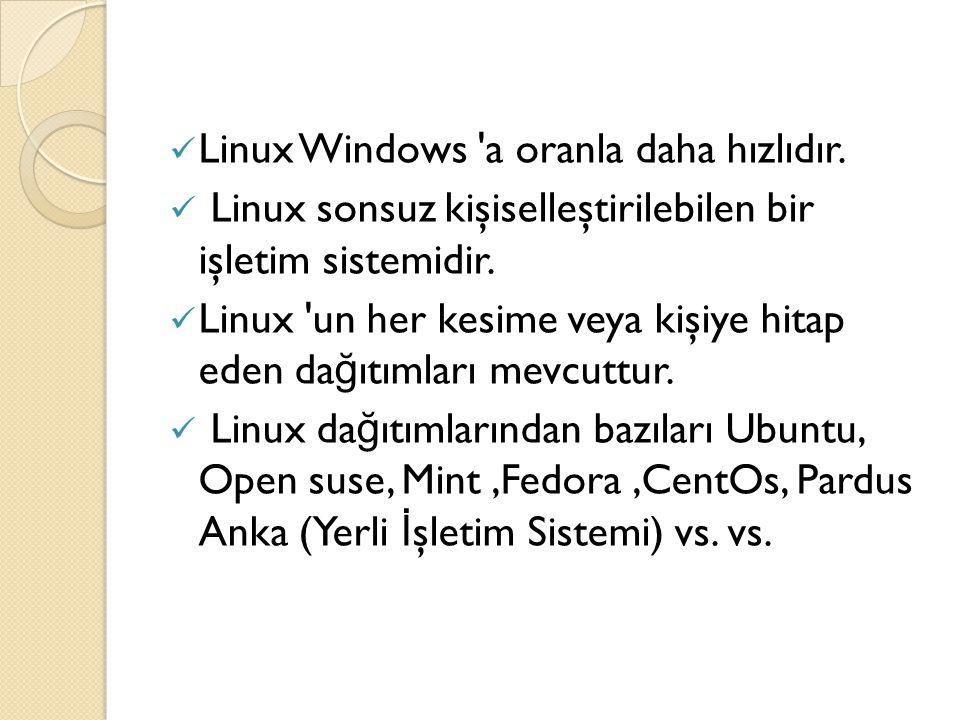 Linux Windows 'a oranla daha hızlıdır. Linux sonsuz kişiselleştirilebilen bir işletim sistemidir. Linux 'un her kesime veya kişiye hitap eden da ğ ıtı