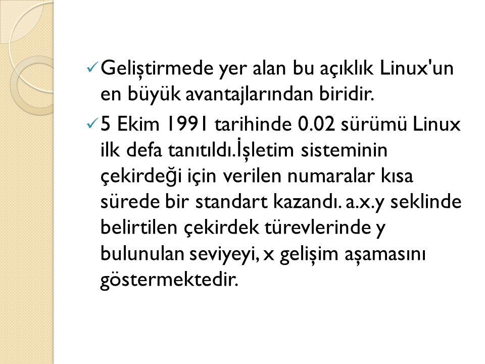 Geliştirmede yer alan bu açıklık Linux'un en büyük avantajlarından biridir. 5 Ekim 1991 tarihinde 0.02 sürümü Linux ilk defa tanıtıldı. İ şletim siste
