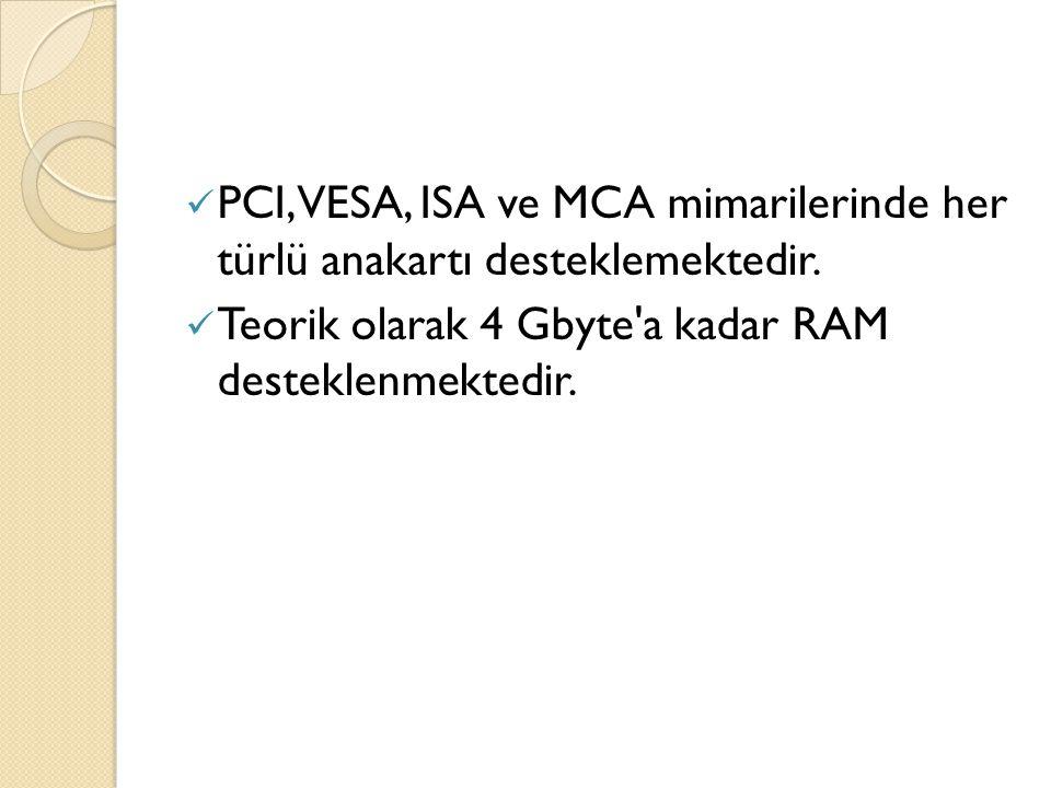 PCI, VESA, ISA ve MCA mimarilerinde her türlü anakartı desteklemektedir.