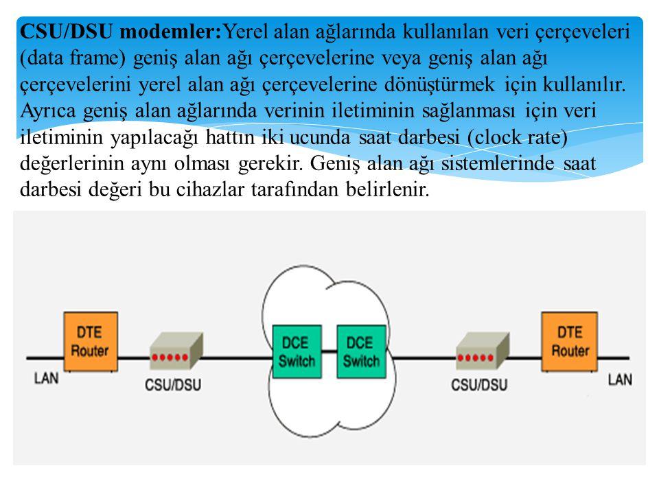 CSU/DSU modemler:Yerel alan ağlarında kullanılan veri çerçeveleri (data frame) geniş alan ağı çerçevelerine veya geniş alan ağı çerçevelerini yerel al