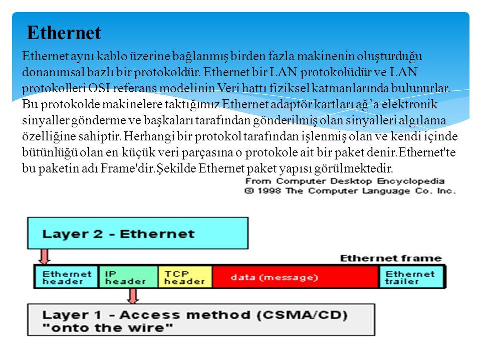 Ethernet için bu paketlerin IEEE 802.3 standardında da belirtilmiş olan büyüklükleri vardır.IEEE LAN sistemlerini standardize etmiş ve onlara 802 ile başlayan kod numaraları verilmiştir.Ethernet'in kod numarası ise 802.3 olarak belirlenmiştir.Bütün adaptör kartları teoride tek bir ortak medya üzerine direkt eriştiği için hangi verinin kimden kime gönderildiğini anlaşılabilmesi gerekir.