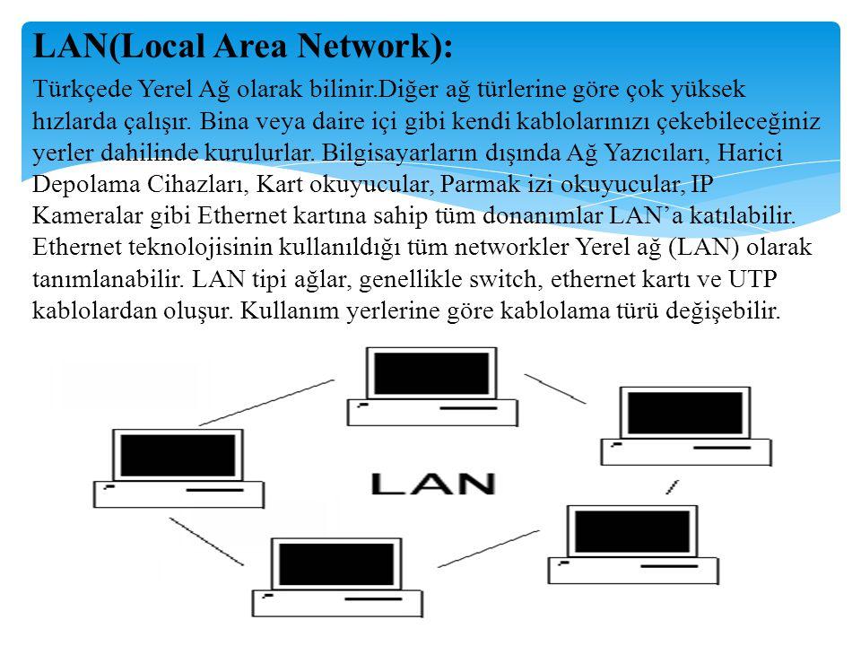LAN(Local Area Network): Türkçede Yerel Ağ olarak bilinir.Diğer ağ türlerine göre çok yüksek hızlarda çalışır. Bina veya daire içi gibi kendi kablolar