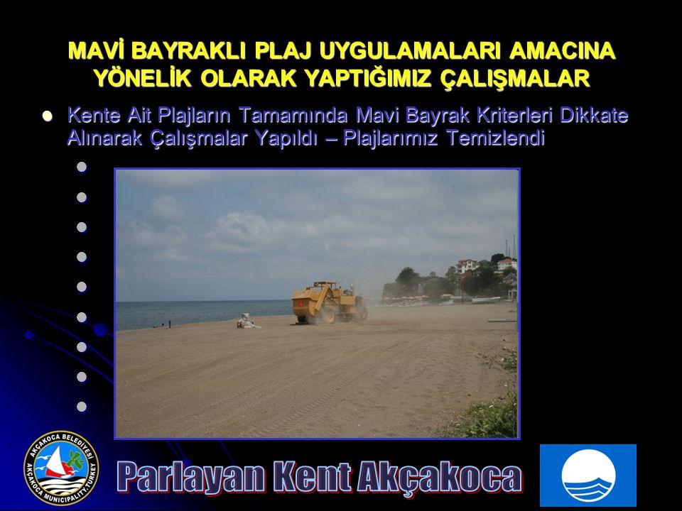 MAVİ BAYRAKLI PLAJ UYGULAMALARI AMACINA YÖNELİK OLARAK YAPTIĞIMIZ ÇALIŞMALAR Kente Ait Plajların Tamamında Mavi Bayrak Kriterleri Dikkate Alınarak Çal