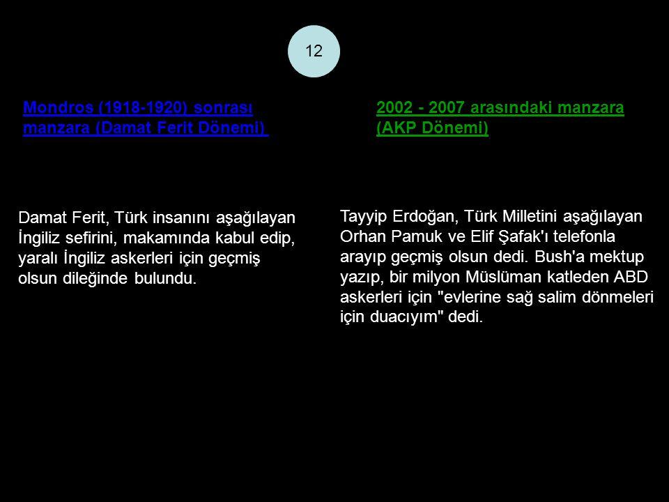 Mondros (1918-1920) sonrası manzara (Damat Ferit Dönemi) 2002 - 2007 arasındaki manzara (AKP Dönemi) 12 Damat Ferit, Türk insanını aşağılayan İngiliz